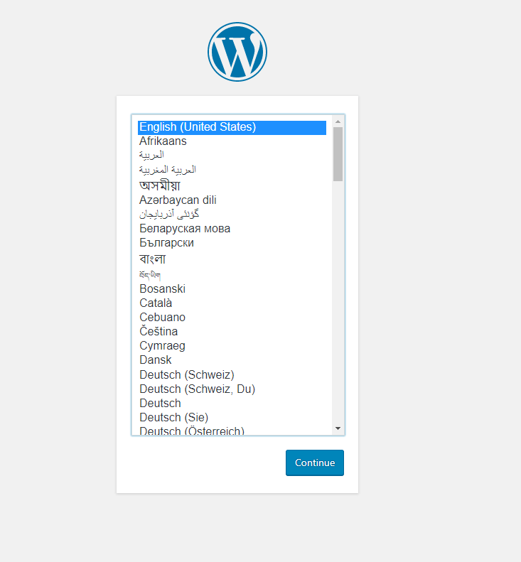 Wordpress language window
