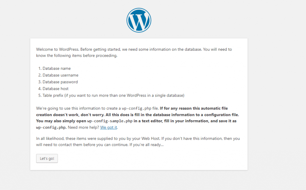 Wordpress Setup - Vefore getting started window