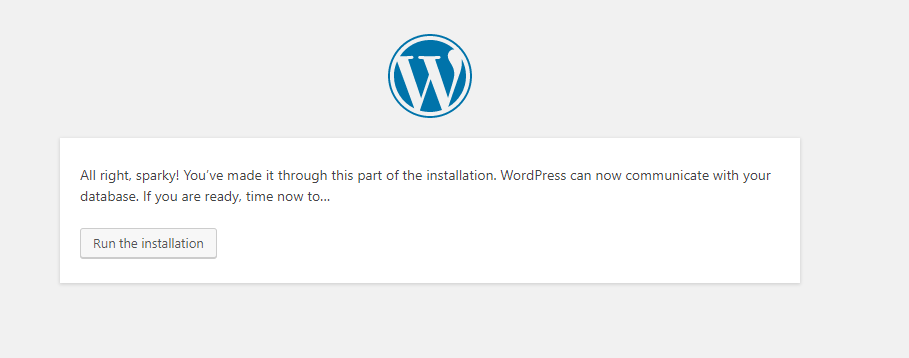 Part of the WordPress installation complete