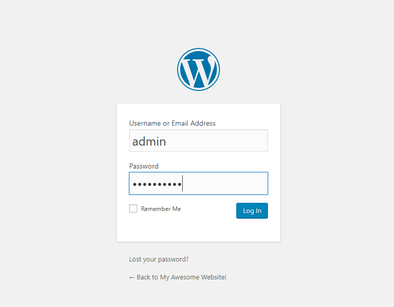 Wordpress Backoffice Login