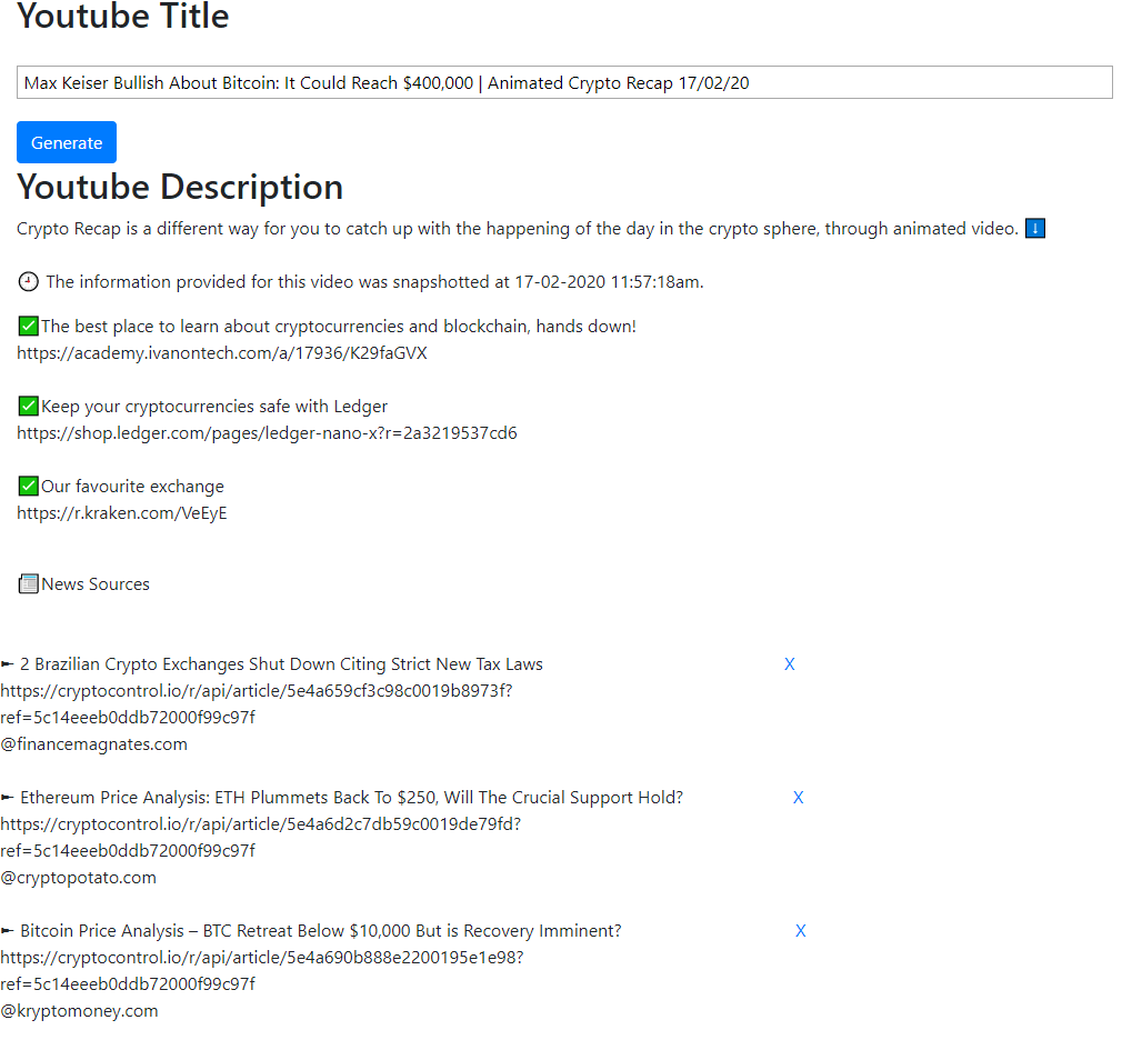 Example of the youtube description and title generated by the custom web tool