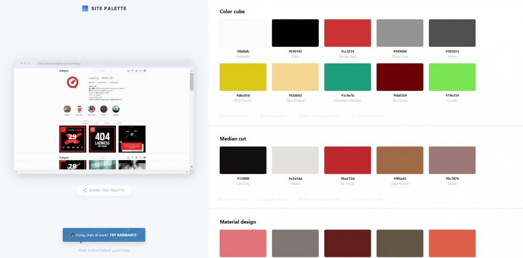 Example - Site Palette on Instagram